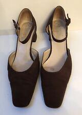 Christian Louboutin Brown Peau De Soie Block Heel Shoes With Ankle Strap 40
