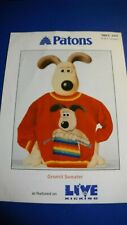 Wallace & GROMIT Sweater Jumper PATONS 2207 DK KNIT KNITTING PATTERN 5 - 12 NEW