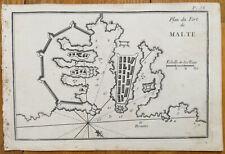 Roux: Original Engraving Map of Malta 1750#