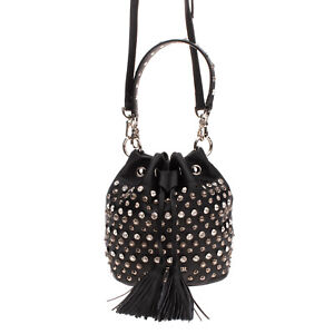 CAFENOIR Bucket Bag PU Leather Studded Detachable Strap Tassels Drawstring