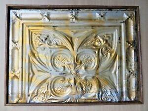ANTIQUE Ceiling TIN TILE panel lately reused WOOD FRAME shabby chic DECOR