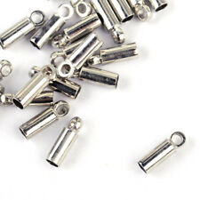 100pcs Silver Plated Barrel Cord Ends Necklace Bracelet Tips Caps Findings 8x2mm
