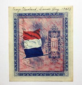 1944 France 2 Francs AMC Hand Signed & Inscribed Aug. 1945 Camp Cleveland France