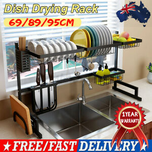 89/95cm Stainless Steel Over The Sink Drying Dish Rack Kitchen Holder Organizer