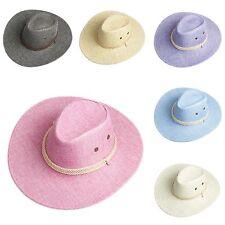 Unisex Women Men Cowboy Cowgirl Western Fedora Trilby Hat Linen Wide Brim Cap