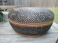 WOVEN RATTAN LIDDED WICKER BASKET VINTAGE  WELL MADE NATURAL HANDCRAFTED