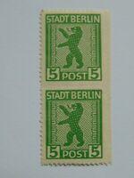 Alliierte Besetzung Berlin senkrechtes Seitenrandpaar 5 Pf Mi 1B (**)