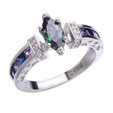 Fashion 925 Silver Jewelry Mystic Topaz Women Wedding Surprise Happiness Ring