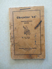 Original 1928 Chrysler Model 65 automobile owner's manual - Chrysler Corporation