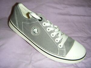 New Crocs Shoes Sneakers Gray Logo Low Top Lace Up Lite Light 11949 Canvas NWOB