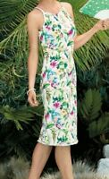 NEW! Women's TOMMY BAHAMA Floral Tropical White Sleeveless Midi Dress (Size 14)