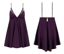 Silk Slip by Coco de Mer, Blackberry colour – Size Small