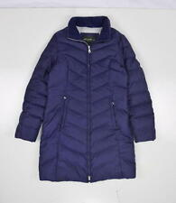 EDDIE BAUER Purple 550 Fill Goose Down Puffer Long Duster Trench Coat Jacket S