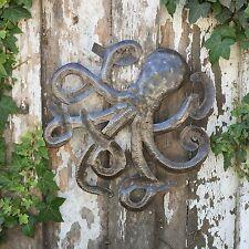 "Octopus of the Deep Recycled Metal Haitian Wall Art, Fair Trade 14"" x 14"""