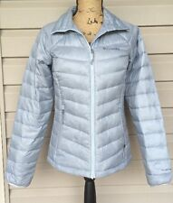 COLUMBIA WOMENS PLATINUM 860 TURBO DOWN PUFF ZIP UP JACKET SILVER SMALL EUC $180