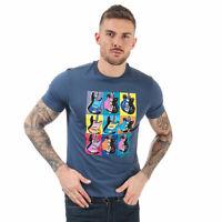 Mens Ben Sherman Warhol Guitar T-Shirt In Dark Blue- Short Sleeve- Ribbed