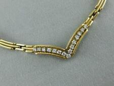 """ESTATE DIAMOND 14KT YELLOW GOLD PANTHER V-SHAPE NECKLACE ITALY 19.0"""" L1332.36.11"""