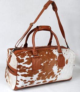 100% Natural COWHIDE Duffel Bag Hair On Leather TRAVEL Bag Luggage Bag SA-109