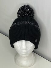 Zella Reflective Pompom Cuffed Ribbed Knit Beanie Black One Size Earband NWOT