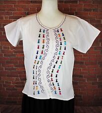 WHITE SMALL PEASANT OAXACA MANTA HAND EMBROIDERED MEXICAN BLOUSE TOP 100% COTTON