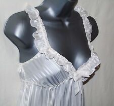 Ladies Womens White Pinstripe Type Pattern Chiffon Babydoll Chemise