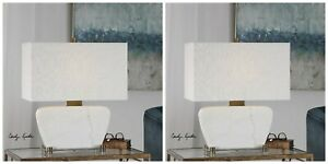 """TWO MODERN DECOR 22"""" AGED BRASS METAL WHITE STONE MARBLE GENESSY TABLE LAMP"""