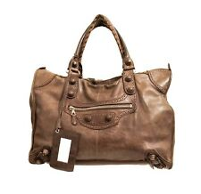 Balenciaga Brogue Chocolate Marble Weekender Leather Covered Studs. RRP: £1885