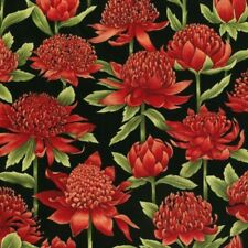 Australian Waratah Floral Blossom Black Background Cotton Quilting Fabric 1/2 YD