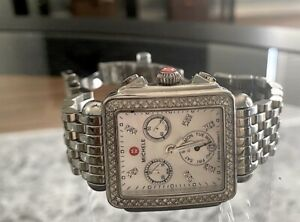 michele deco stainless steel and diamond watch