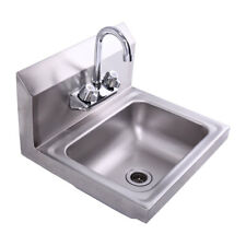 """In Wall Mount Hand Sink With Faucet 17"""" x 15"""" Stainless Steel Silver"""