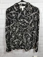 NEW Jones New York Black 100% Silk Long Sleeve Button Down Blouse $99 SIze 10
