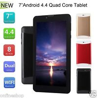 7 Inch Multi-color WIFI+3G SIM Quad Core Tablet PC HD Bluetooth Android 4.4 Lot