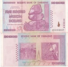 Zimbabwe 500 Million Dollars 2008 AB Prefix Circulated, 50 &100 Trillion Series