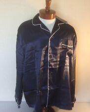 Alexander Del Rossa Mens XL NWT Satin Pajama Set Navy Blue w/White Piping