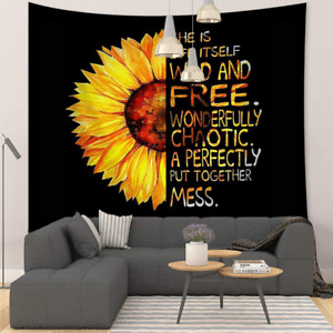 "Sunflower Tapestry Black Yellow Flower Quotes Wall Hanging 59''x51"" Decoration"