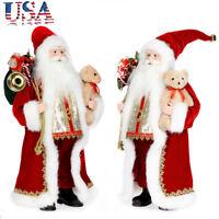 "18"" Christmas Standing Santa Claus Figure Doll w/ Bear Gift Sack Table Top Decor"