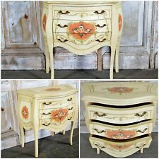 Vtg Cream Floral French Style Bombe Commode Chest