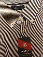 3XT Roundtree & Yorke Long Sleeve Button Down Shirt, Blue Stripe