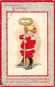 H66/ Valentine's Day Love Holiday Postcard c1910 E. Curtis Skeleton Key 14