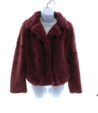Miss Posh Womens Wine Faux Fur Long Sleeve Snap Closure Coat Winter Casual