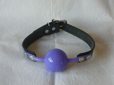 vegan friendly 51mm LARGE PURPLE SILICONE BALL GAG PVC BLACK STRAP gimp BALLGAG