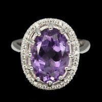 Unheated Oval Purple Amethyst 14x10mm Natural White Cz 925 Sterling Silver Ring
