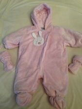 ABSORBA Soft pink rabbit bunny hooded baby bunting winter snowsuit 6 months