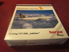 HERPA WINGS 506380 SINGAPORE AIRLINES BOEING 777-200 JUBILEE 1:500 RARE MIB
