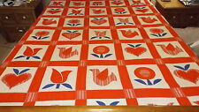"""Handmade HEARTS-FLOWERS & BIRDS Quilt-Wall Hanging-Display, 91"""" X 105"""" LARGE -"""