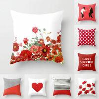 Red Flower Plaid Pillowslip Throw Pillow Case Cushion Cover Sofa Home Decor