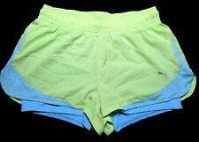 Puma Blue/Green 510019 2 In 1 Athletic Running Training Shorts Women's Size Med