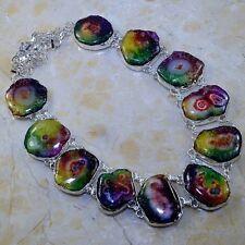 "Handmade Rainbow Solar Quartz Crystal 925 Sterling Silver Necklace 21"" #P46330"