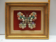 "Framed Vintage Costume Jewelry Butterfly Art One of a Kind 17-3/4"" X 15-3/4"""