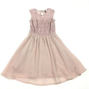 Divided By H&M Womens A Line Dress Pink Keyhole Knee Length Sleeveless Lace 6